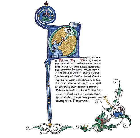 Guideposts: A picture of Kate Norris' embroidered take on an illuminated Bible