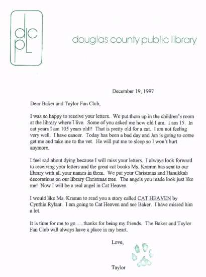 Baker and Taylor fan club thank you letter