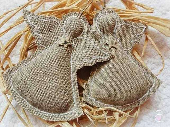 Angels crafted from burlap.