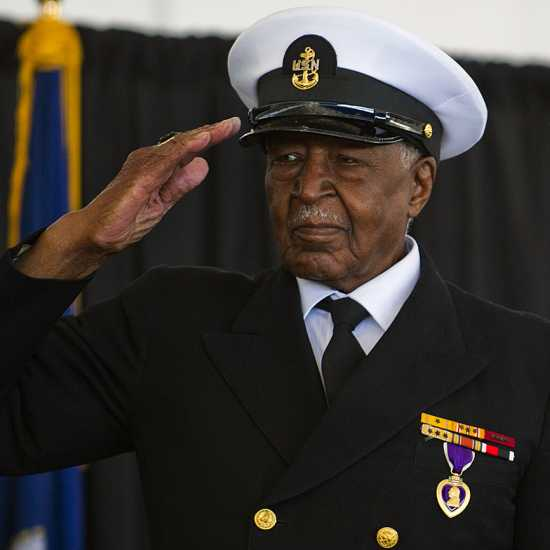 Carl Clark, recipient of the Navy and Marine Corps Commendation Medal