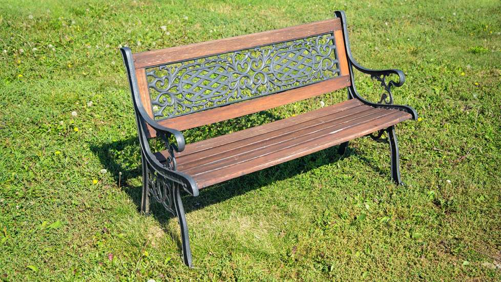 A wrought-iron bench