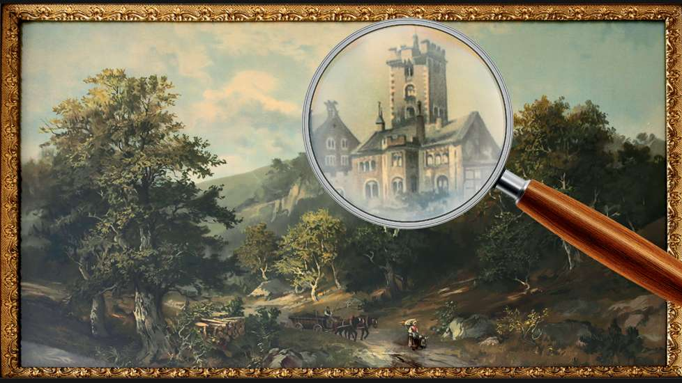 Carlton Milbrandt's castle painting, with a magnifying glass superimposed on it
