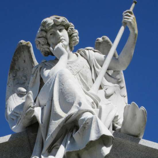 This inspiring angel looks down from the roof of the Joseph Cuneo mausoleum.