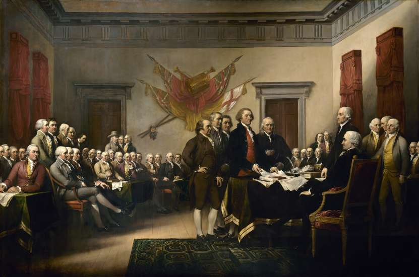 America's first Continental Congress drafting the Declaration of Independence