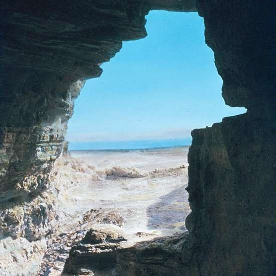 A view of the Dead Sea from a cave at Qumran in which some of the Dead Sea Scrolls were discovered.