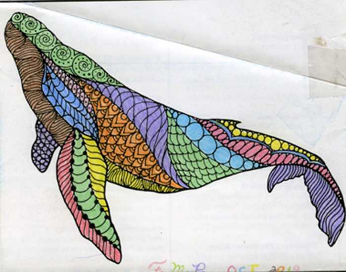 Humpback whale colored by Fern Pisano, New Vineyard, Maine