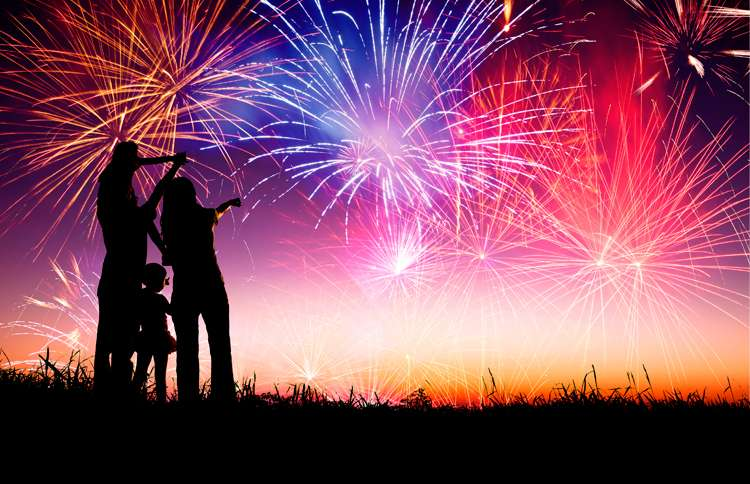 A family watches with delight as an inspiring municipal fireworks display plays before them.