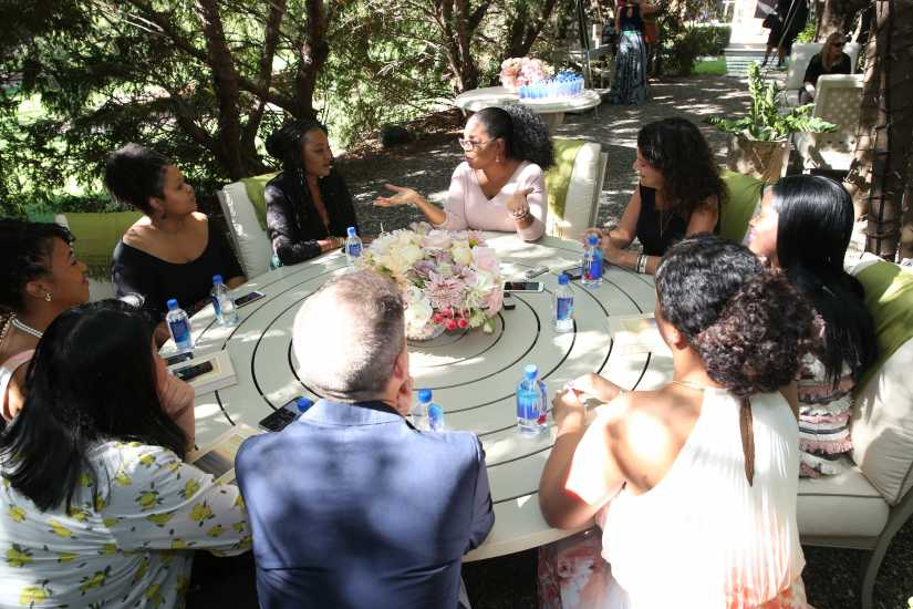 a roundtable of reporters at Oprah's home in Montecito
