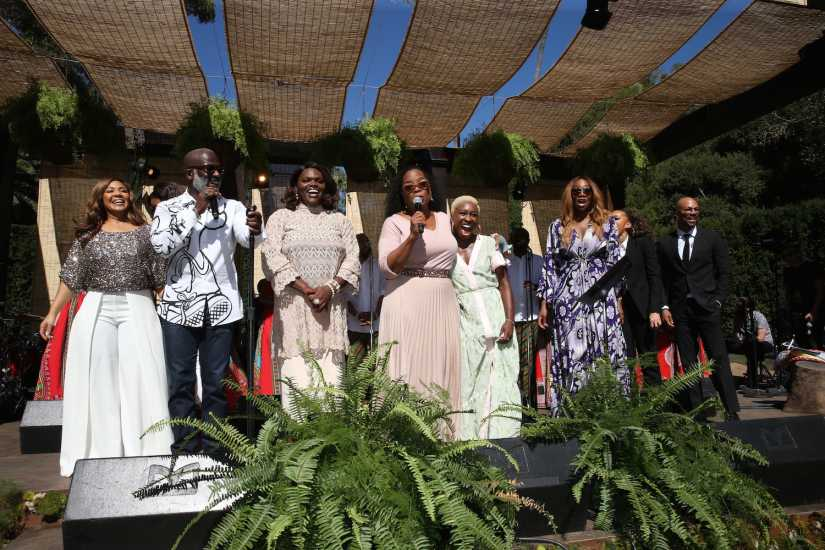 "(L-R) Erica Campbell, Bebe Winans, Emily David, Oprah Winfrey, Cynthia Erivo, Yolanda Adams, Andra Day and Common at the ""Super Soul Gospel Brunch"""