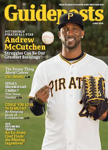 Pittsburgh Pirates center fielder Andrew McCutchen on the cover of the June 2016 edition of Guideposts