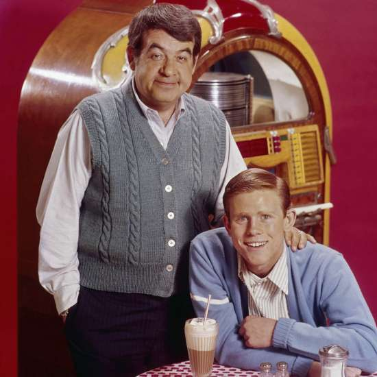 Tom  Bosley and Ron Howard as Howard Cunningham and son Rickie on Happy Days