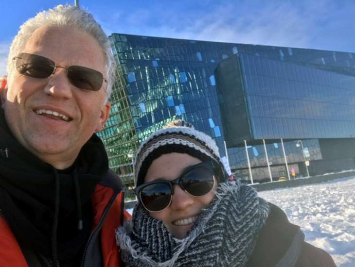 Alikay and her father visited Harpa, a beautiful concert space in Reykjavik