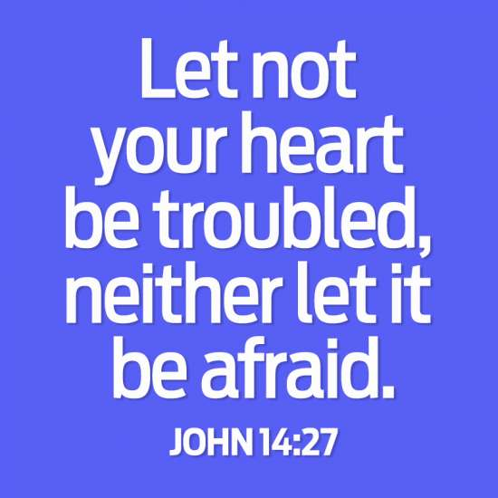 Let not your heart be troubled, neighter let it be afraid. John 14:27