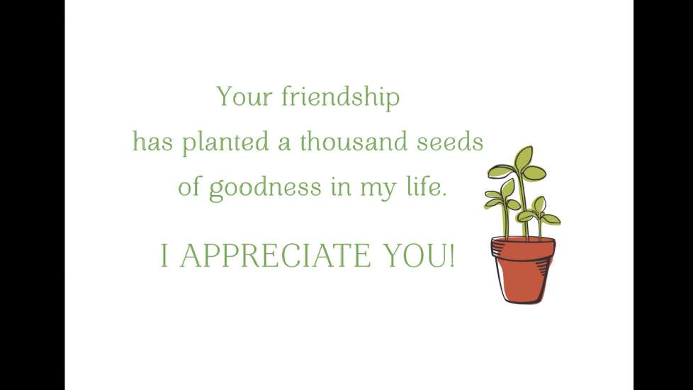 """""""Your friendship has planted a thousand seeds of goodness in my life. I APPRECIATE YOU!"""""""