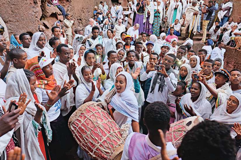 Ethiopian children joyously celebrate Genna, their word for Christmas
