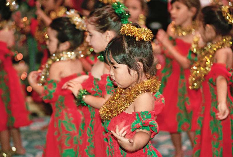 Hawaiian children celebrate Mele Kalikimaka