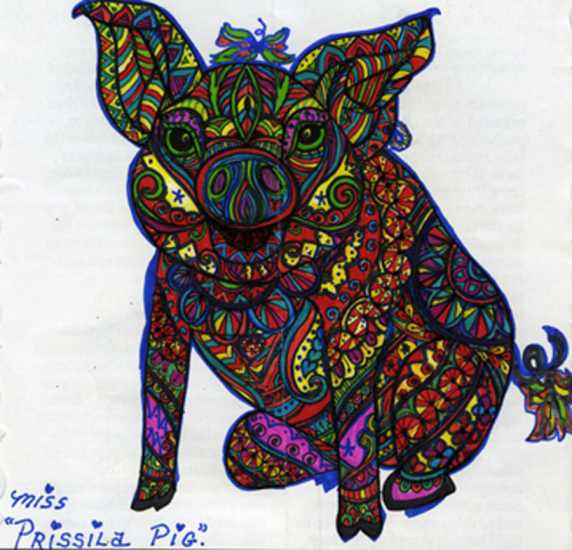 Pig colored by L. Dyvan, Galveston, Texas