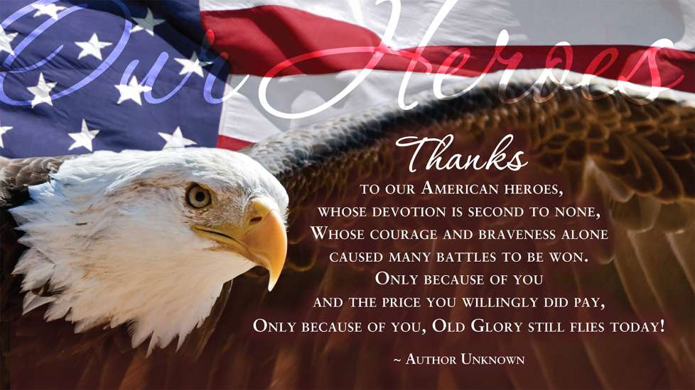 An eagle flies, wings spread, over a poem of gratitude to our veterans and troops