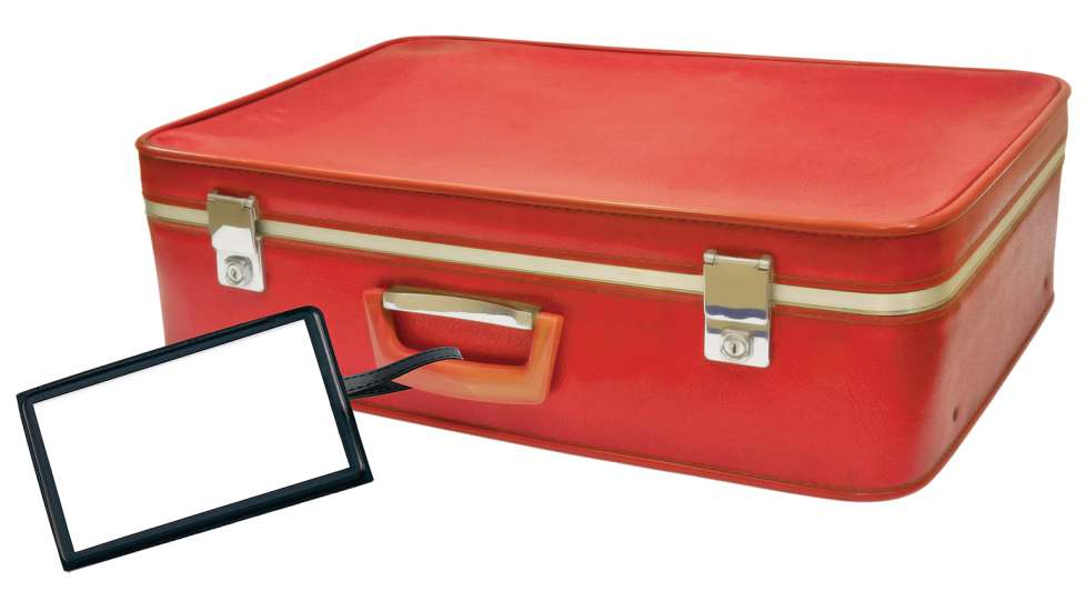 A red suitcase