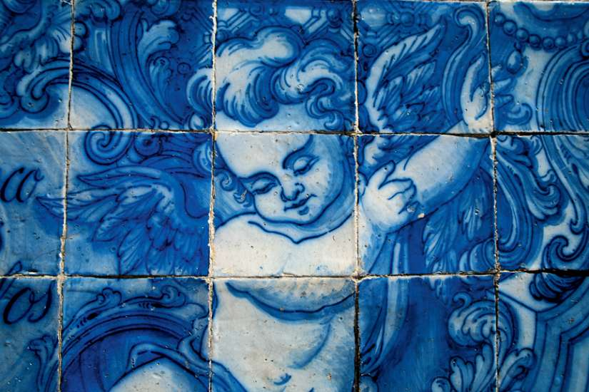 Angel in blue tile. Capela das Almas Church, Porto, Portugal.