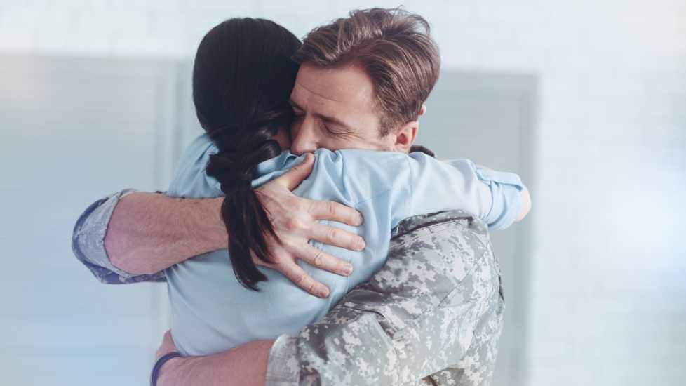 Military Couple Hugging