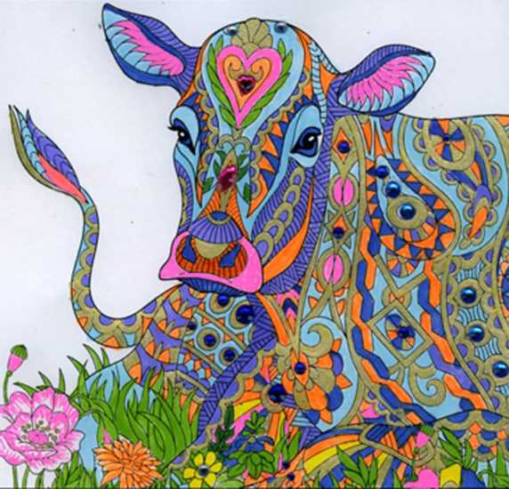 Cow colored by Ruth Redmond, Vancouver, Washington