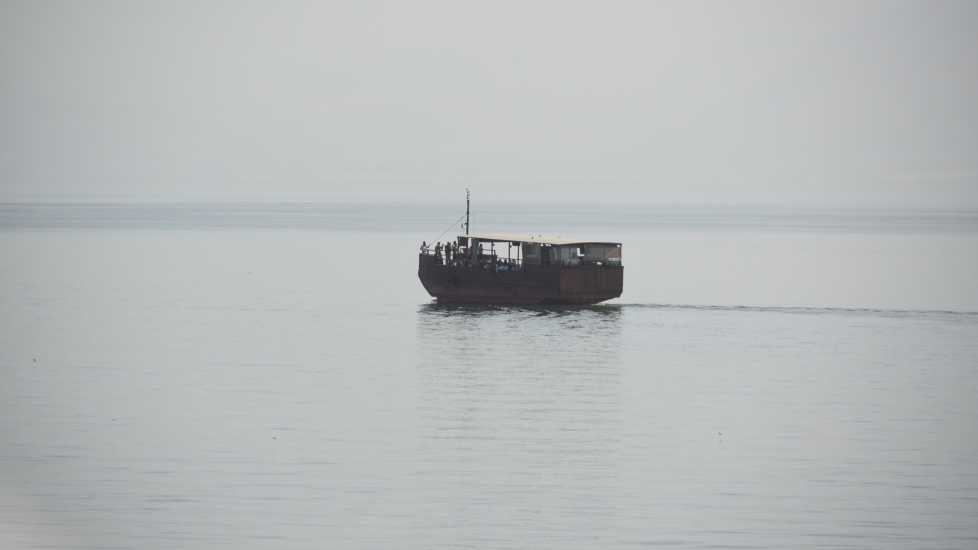 replica boat on the sea of galilee