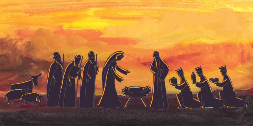 Shepherds and wise men reach Mary and Joseph and Jesus in the stable, Guideposts