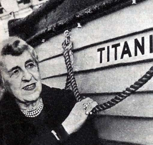 Guideposts: Edith stands next to a replica Titanic lifeboat