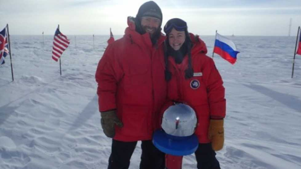 Sarah and Brett reaching the South Pole.
