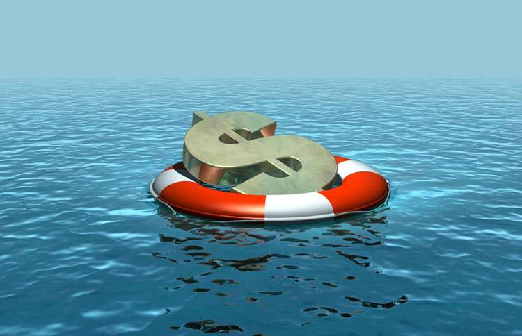 An oversized green dollar sign floats on a life preserver on the open ocean