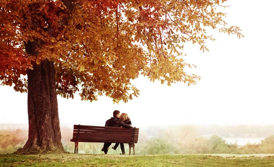 Guideposts: A young couple sits side by side on a park bench