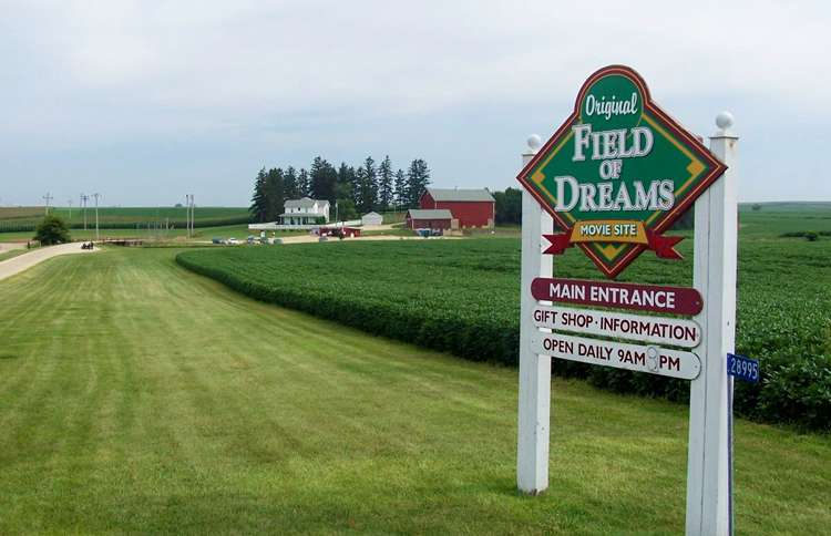 Guideposts: The entrance to the Field of Dreams Movie Site near Dyersville, Iowa