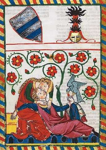 Guideposts: A depiction of courly love, a theme found in Geoffrey Chaucer's work