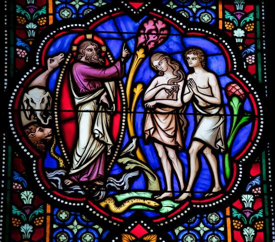 Guideposts: A stained glass depicting Adam and Eve being banished from the Garden of Eden
