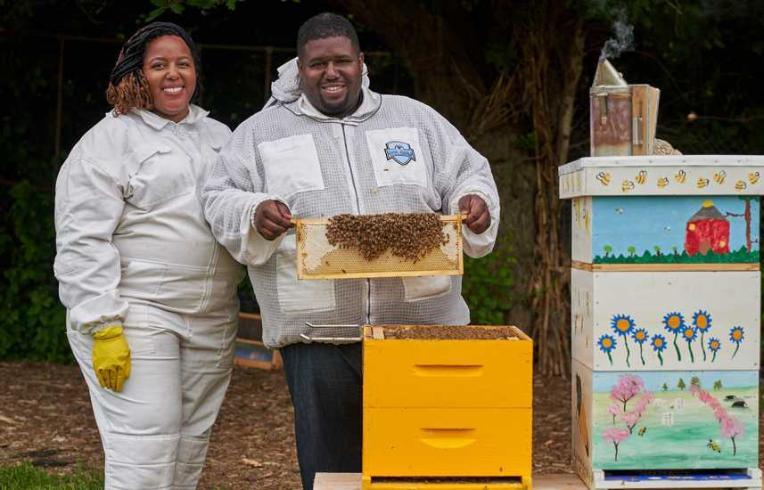 Detroit beekeepers Nicole Lindsey and Timothy Paule