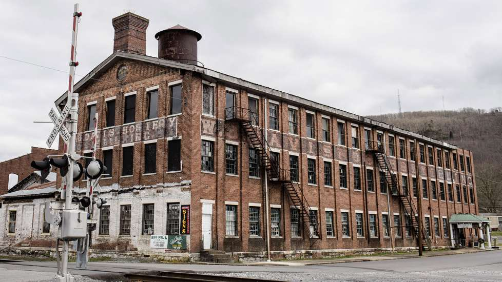 The former W.B. Davis hosiery mill, which now holds an antiques center and restaurant, in Fort Payne, Alabama