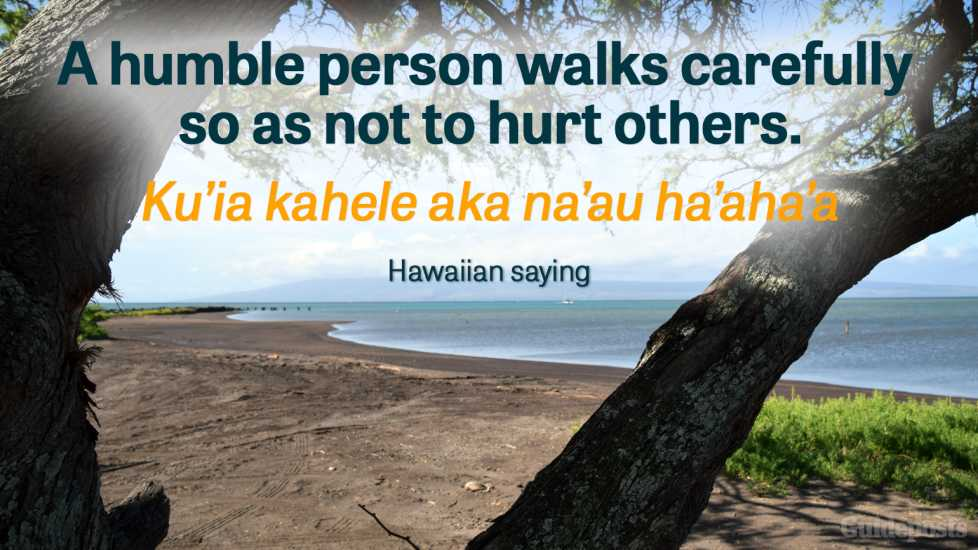 A humble person walks carefully so as not to hurt others. Ku'ia kahele aka na'au ha'aha'a