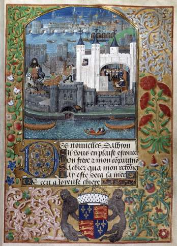 Guideposts: A depiction of Charles' imprisonment in the Tower of London from an illuminated manuscript of his poems