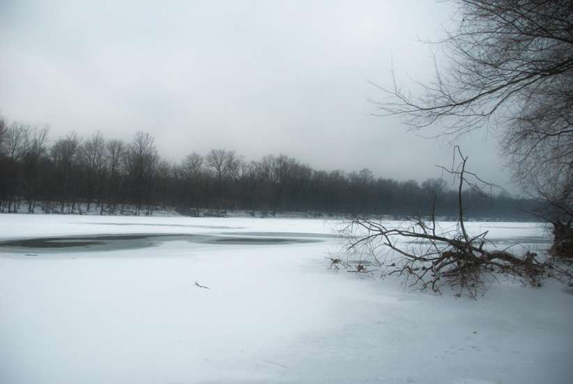 A frozen scene at Valley Forge National Park