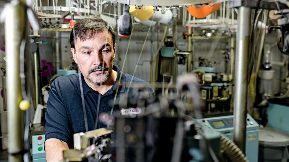 Vance Veal, the longtime plant manager, lends his expertise to the organic sock line, called Zkano.