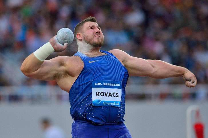 Joe competes in the Men's Shot Put during the IAAF Diamond League 2016 on May 14, 2016, in Shanghai, China.
