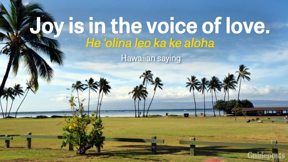 Joy is in the voice of love. He 'olina leo ka ke aloha