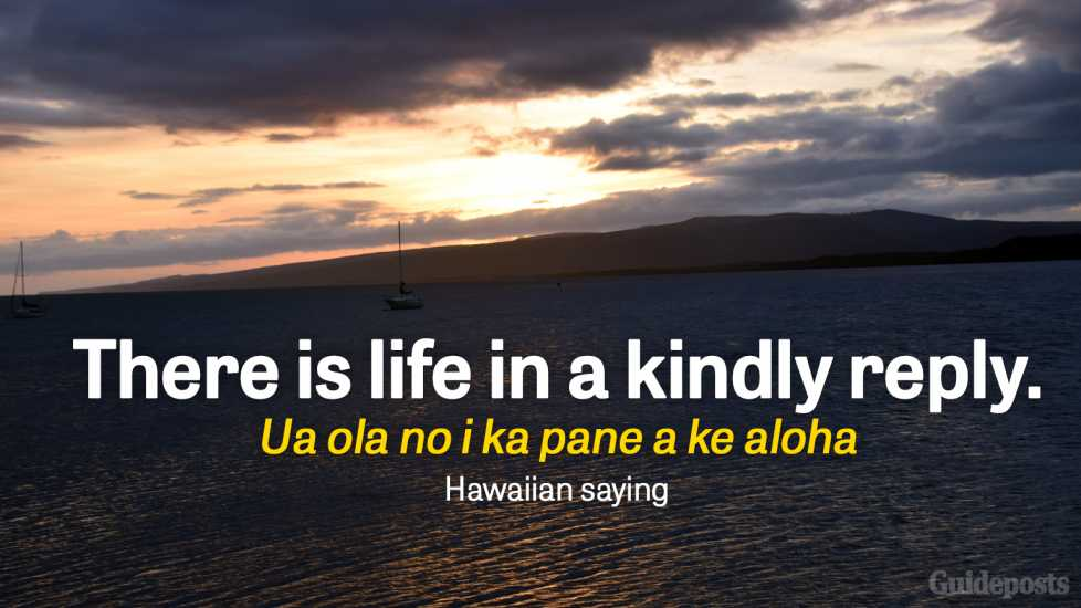 There is life in a kindly reply. Ua ola no i ka pane a ke aloha