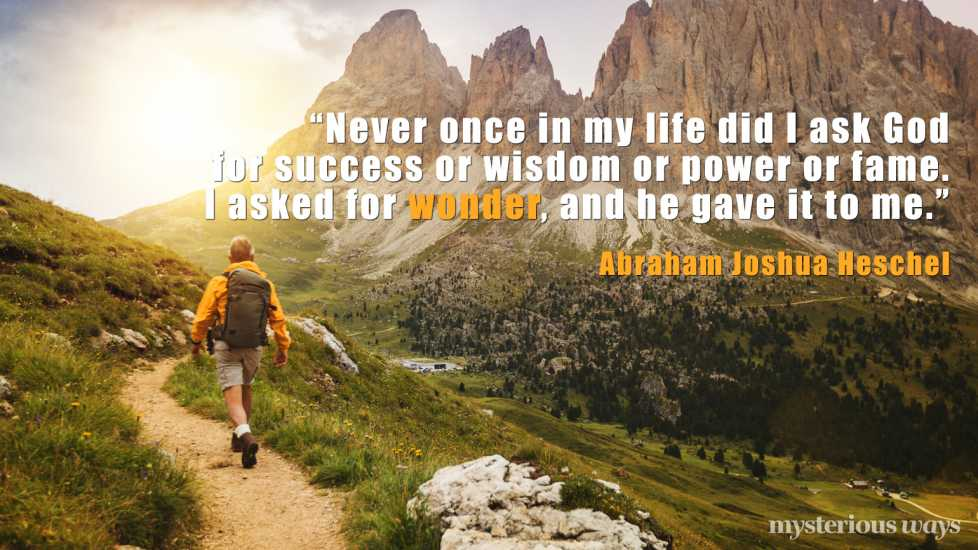 """""""Never once in my life did I ask God for success or wisdom or power or fame. I asked for wonder, and he gave it to me."""""""