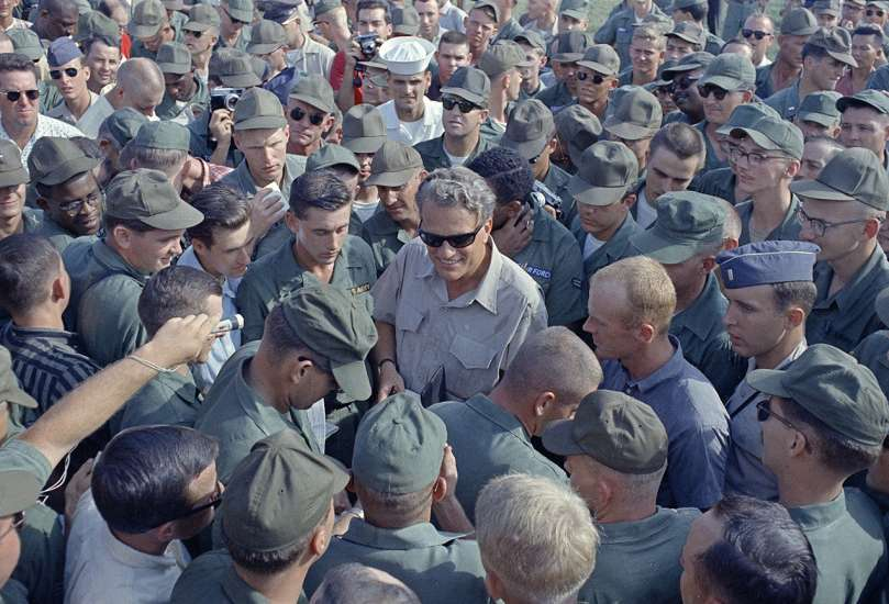 Graham is greeted by hundreds of American servicemen on Dec. 21, 1966, during his Christmas trip to Vietnam.
