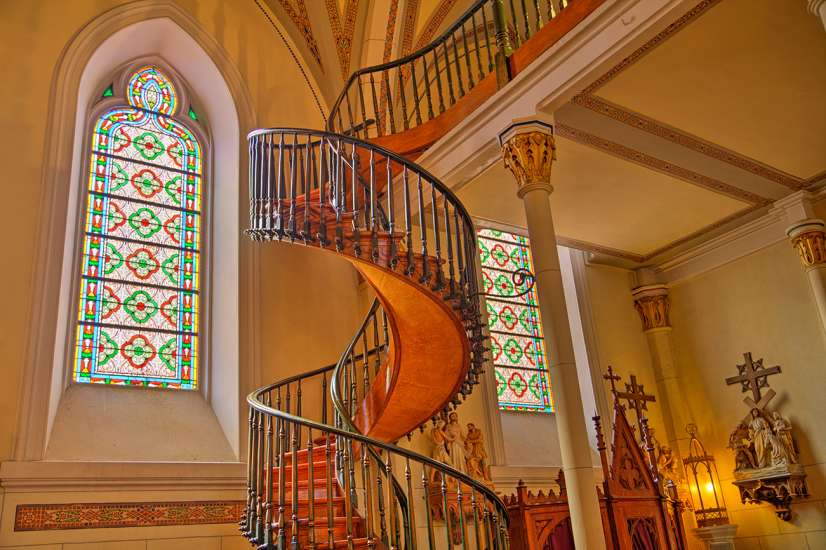 The miraculous staircase at the Loretto Chapel in Santa Fe, New Mexico