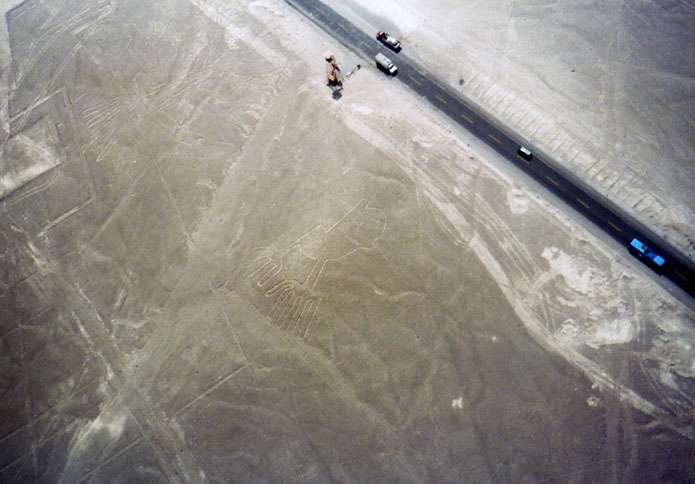 Two examples of the Nazca lines, mysterious giant drawings of animals and other figures etched into the earth in ancient times.