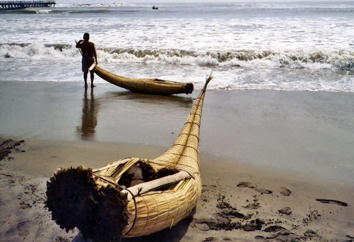 Reed fishing boats on the beach near Trujillo, on the Pacific coast