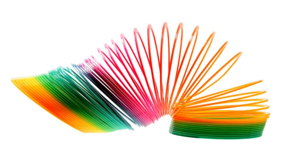 Colorful slinky in motion.